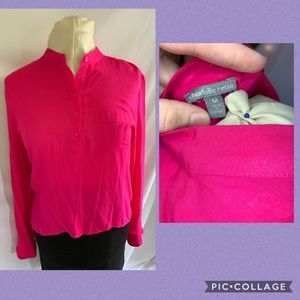 Hot Pink Charlotte Russe Long Sleeve Blouse